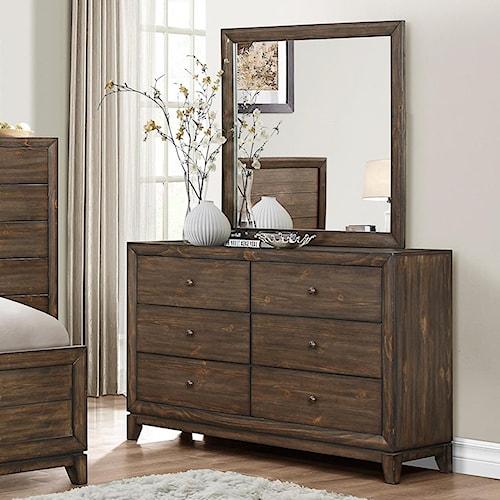 Crown Mark Rhone 6 Drawer Dresser and Mirror Set