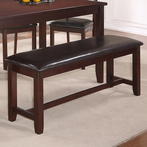 Crown Mark Clara Dining Bench with Upholstered Seat and H Stretcher