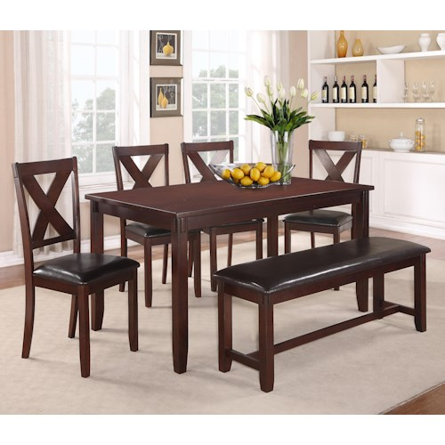 Crown Mark Clara 6 Piece Table Set with Bench and Chairs
