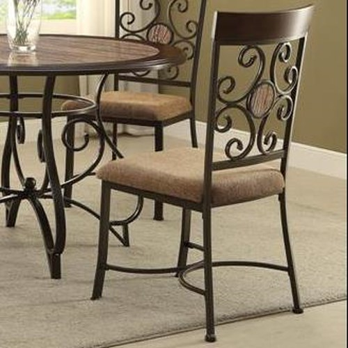 Crown Mark Sarah Upholstered Side Chair with Scroll Design