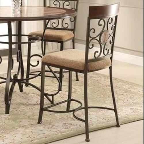 Crown Mark Sarah Upholstered Counter Height Chair with Scroll Design