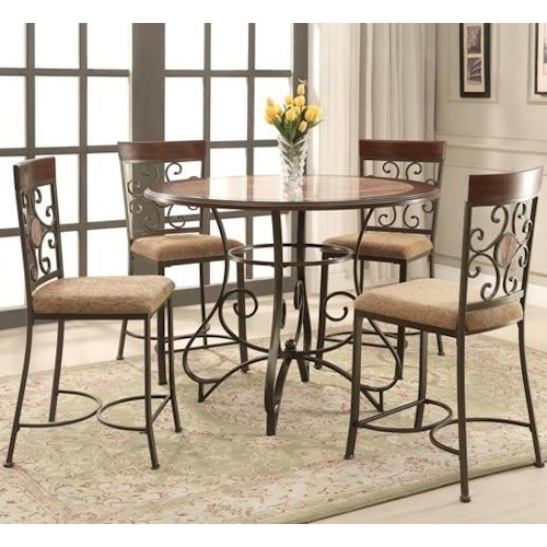 Crown Mark Sarah Counter Height Dining Set with Scroll Motif