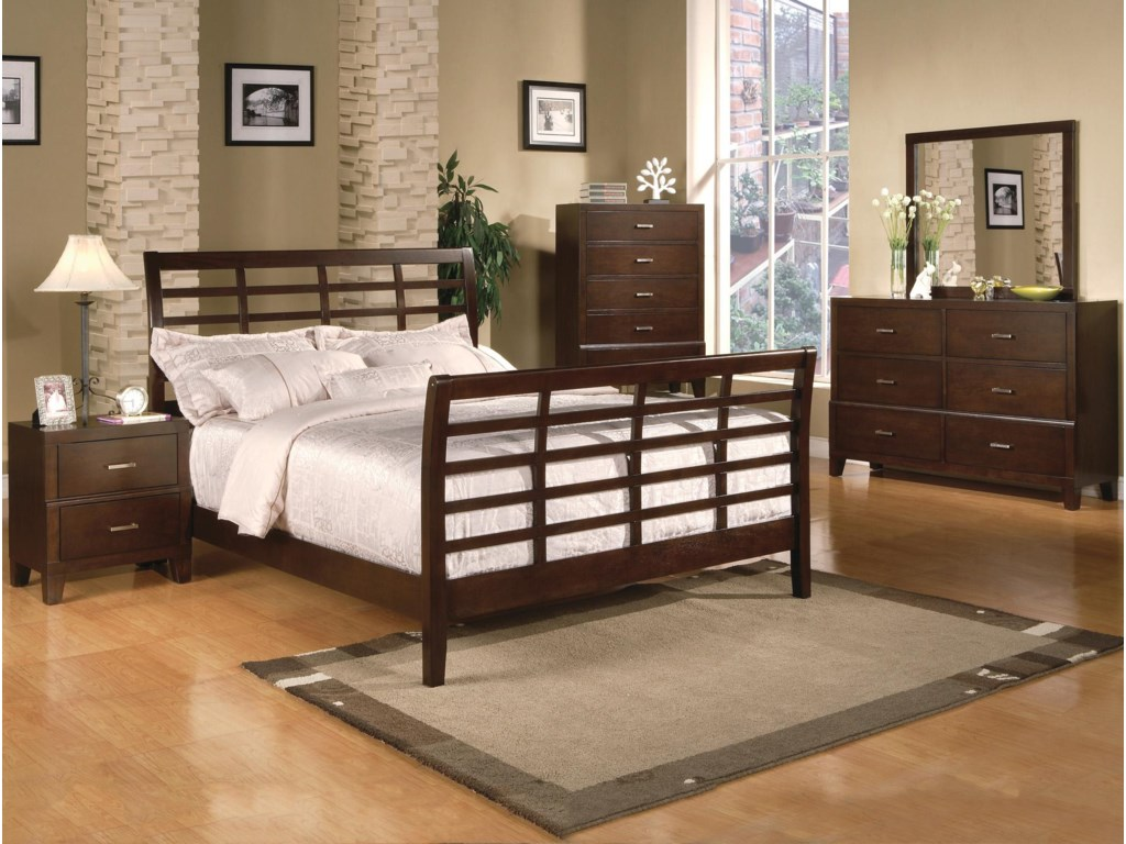 Shown with Coordinating Nightstand, Grid Bed, and Dresser with Mirror Combination