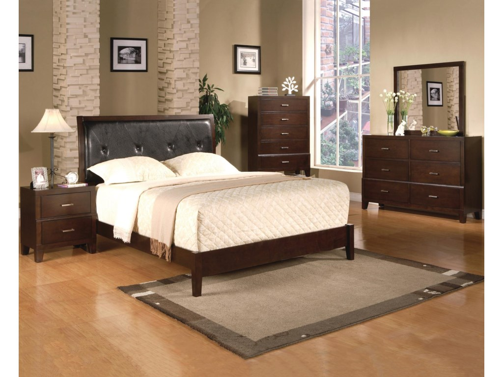 Shown with Coordinating Nightstand, Upholstered Bed, and Dresser with Mirror Combination