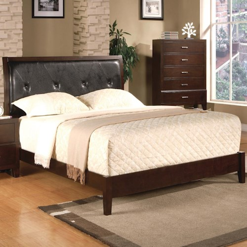 Crown Mark Serena Full Upholstered Platform Bed