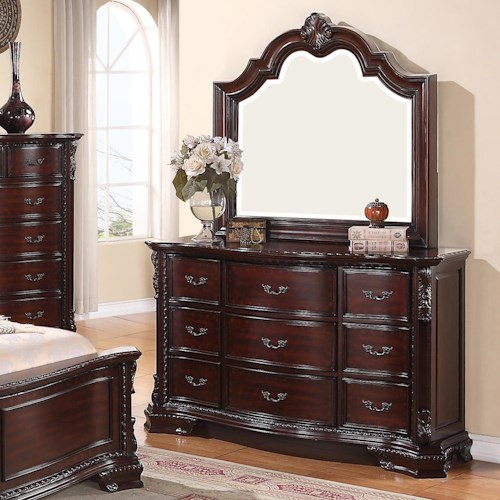 Crown Mark Sheffield 9 Drawer Dresser and Mirror Set