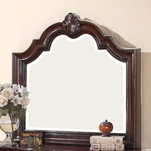 Crown Mark Sheffield Dresser Mirror with Wood Carved Frame and Molding