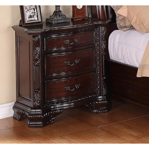 Crown Mark Sheffield Night Stand with Bracket Feet and Three Drawers