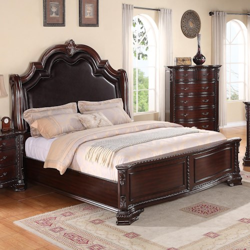 Crown Mark Sheffield Queen Panel Bed with Upholstered Headboard and Nailhead Trim