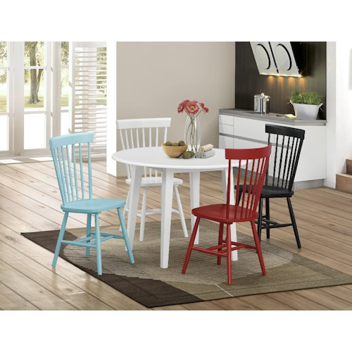 Crown Mark Shelli 5 Piece Round White Table and Mixed Color Chair Set