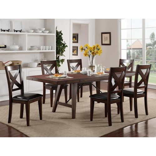 Crown Mark Sierra Transitional Table and Chair Set with X-Back Chairs