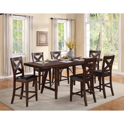 Crown Mark Sierra Transitional Counter Height Table and 6 X-Back Chairs