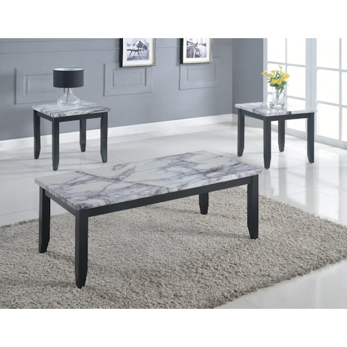 Crown Mark Sinclair Three Pack of Faux Marble Occasional Tables