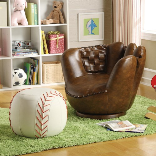 Crown Mark Sport Themed Baseball Glove Chair & Baseball Ottoman