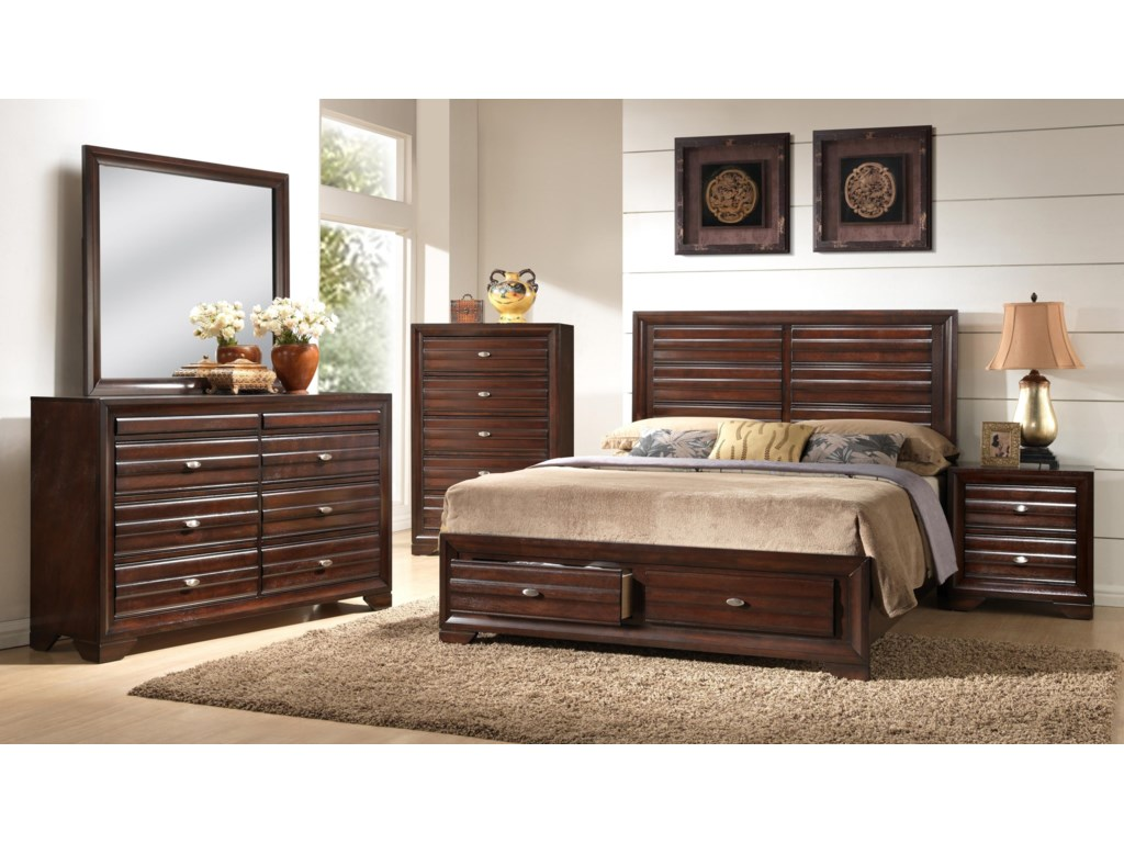 Shown in Room Setting with Storage Bed