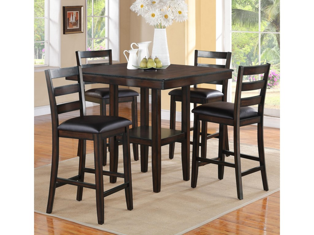 5 Piece Bar Table Set Crown Mark Tahoe 5 Piece Counter Height Table And Chairs Set