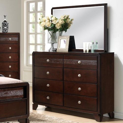 Crown Mark Tamblin Dresser and Mirror Set with Clipped Corners