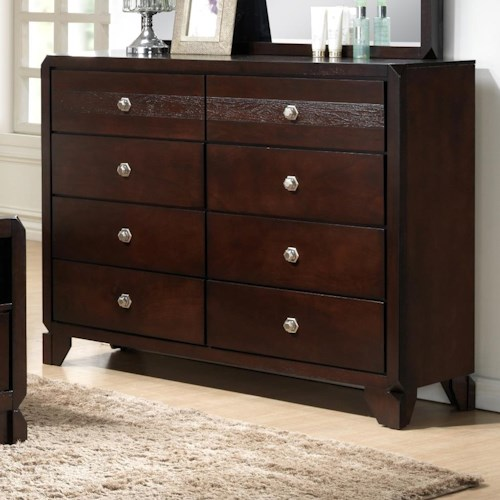 Crown Mark Tamblin Dresser with Clipped Corners and Matching Feet