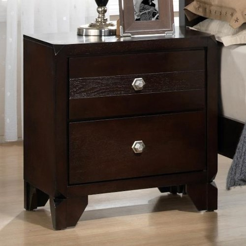 Crown Mark Tamblin Nightstand with Trimmed Corners and Matching Feet