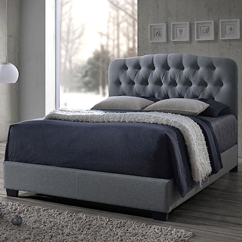 Crown Mark Tilda Light Grey King Upholstered Bed