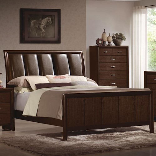 Crown Mark Rivoli King Upholstered Headboard Bed with Sleigh Styling