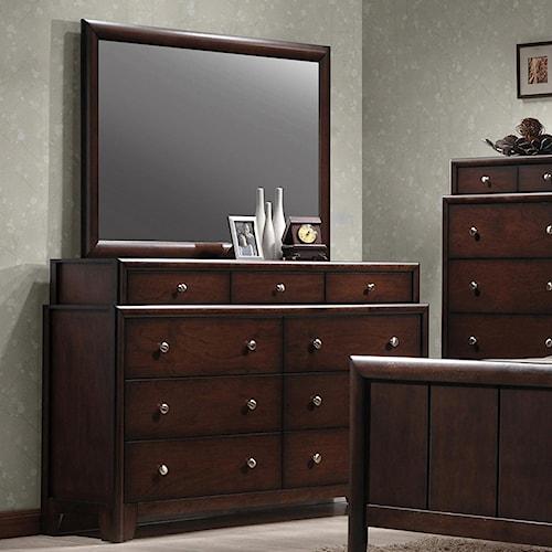 Crown Mark Rivoli Two-Tier Dresser and Rectangular Mirror Combination