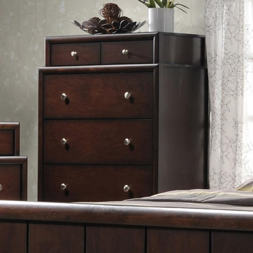 Crown Mark Rivoli Two Tier Chest of Drawers with Silver-Colored Knobs
