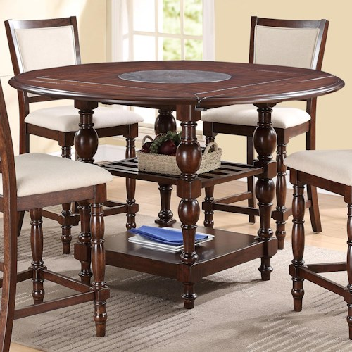 Crown Mark Tremont Counter Height Pub Table with Shelves and Trumpeted Legs