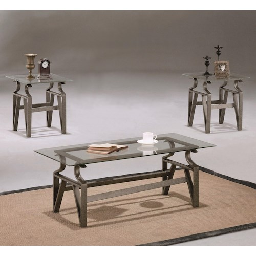 Crown Mark Triad 3 Piece Occasional Table Group with Cocktail and End Tables