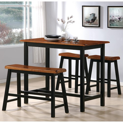 Crown Mark Tyler 4 Piece Counter Height Table Set with Chairs and Bench
