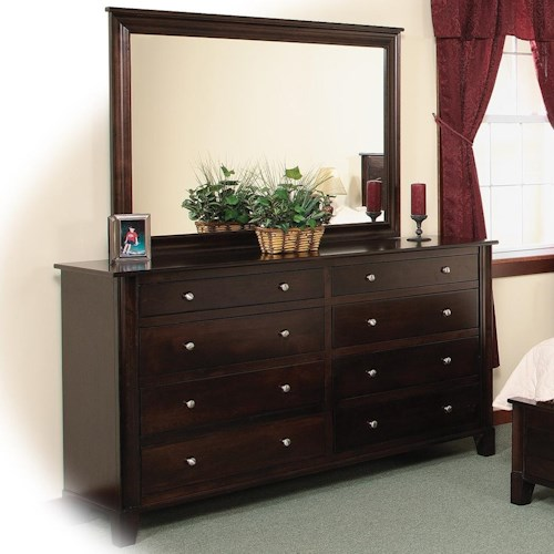 Daniel's Amish Cosmopolitan 8-Drawer Double Dresser & Mirror w/ Slats