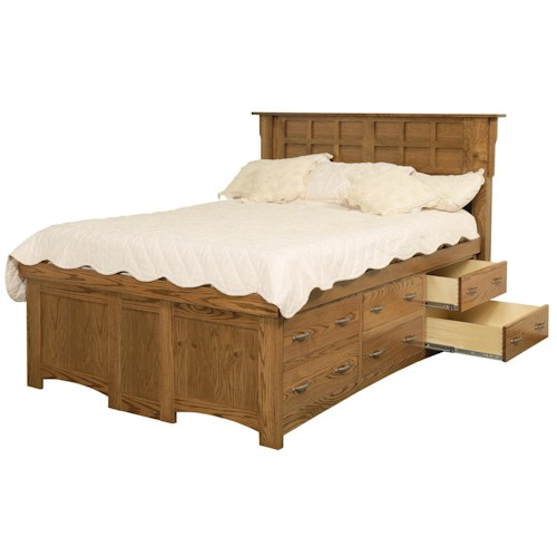 Daniel's Amish Arts and Crafts Queen Solid Wood Pedestal Bed with 12 Drawers