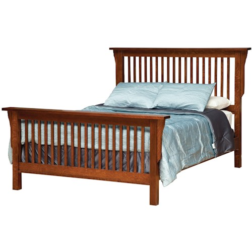 Daniel's Amish Amish Mission Twin Mission-Style Frame Bed with Headboard & Footboard Slat Detail