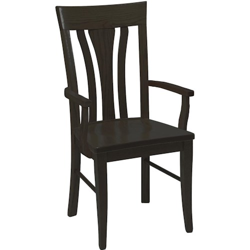 Daniel's Amish Chairs and Barstools Tulip Back Arm Chair with Wood Seat