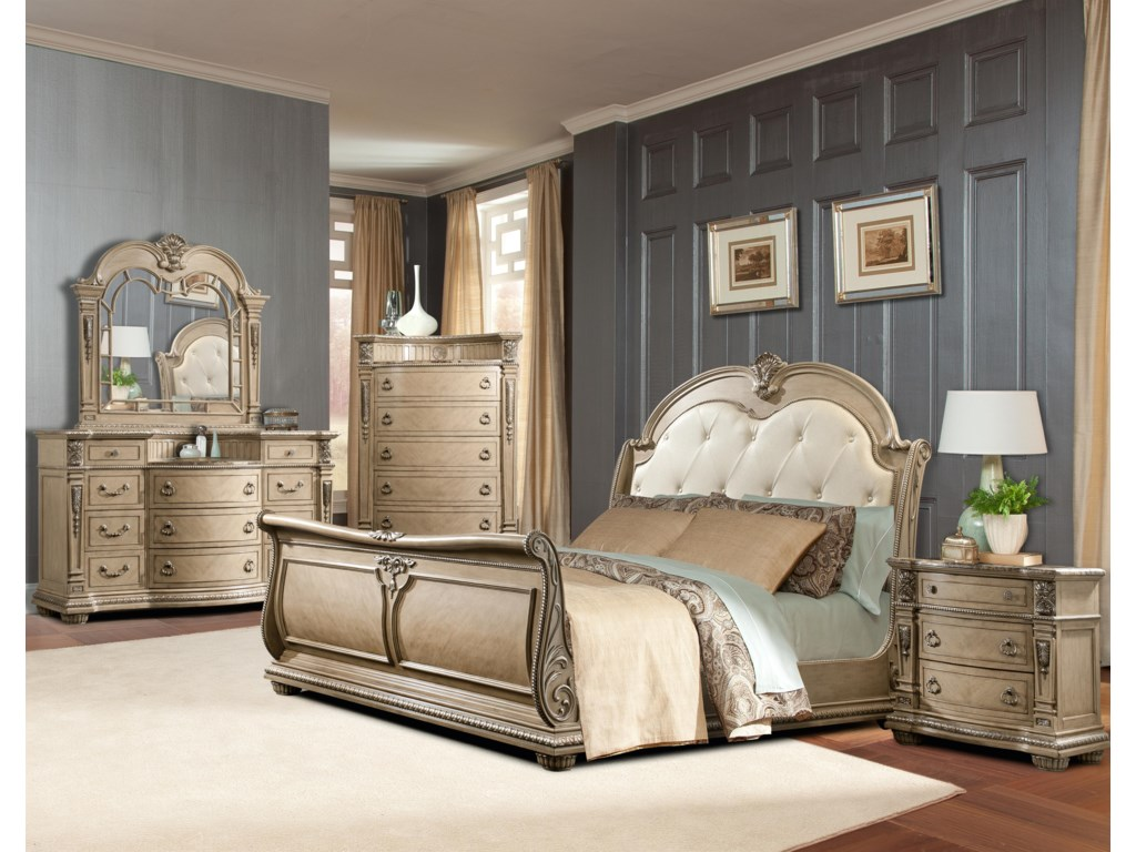 Shown with Mirror, Chest of Drawers, Sleigh Bed, and Nightstand