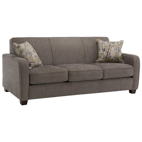 Decor-Rest 2122  Contemporary Sofa with Smooth Track Arms and Small Wood Feet