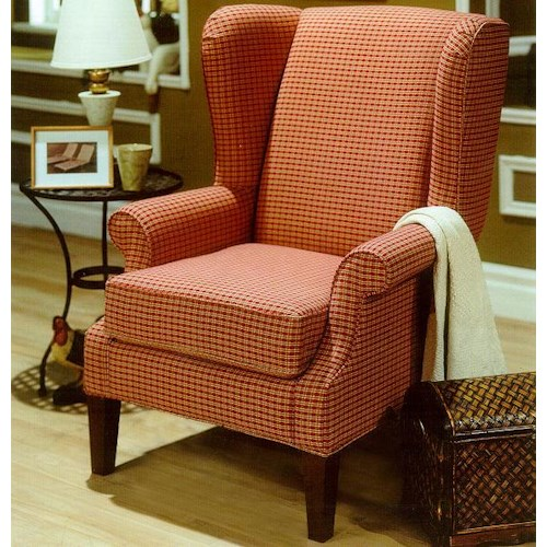 Decor-Rest 2290 Upholstered Wing Chair with Exposed Wood Feet
