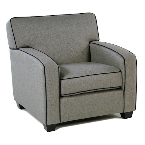 Decor-Rest Gatsby Upholstered Chair w/ Accent Piping