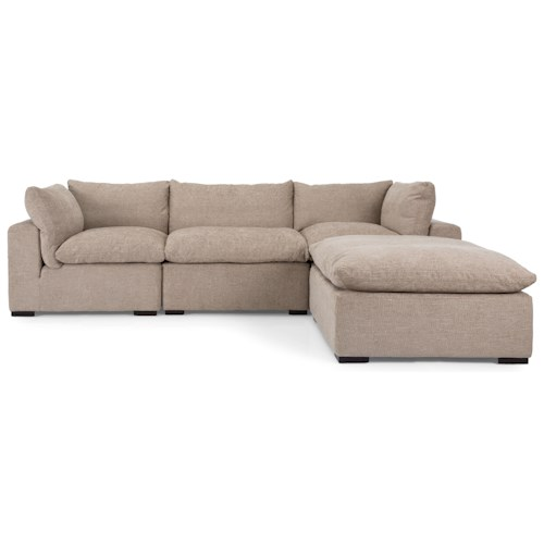 Decor-Rest 2660 Casual Sectional Sofa with Chaise Ottoman