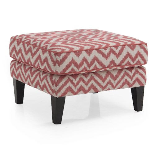 Decor-Rest 2825 Transitional Square Ottoman with Tapered Legs