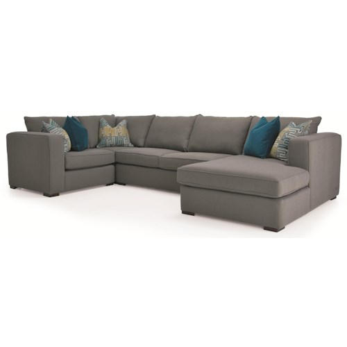 Decor-Rest 2900 4-Piece Contemporary Sectional with RHF Chaise