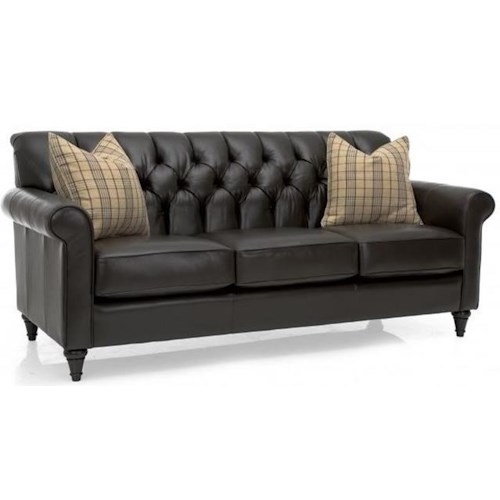 Decor-Rest 3478 Decor-Rest Traditional Sofa with Tufted Back and Turned Feet