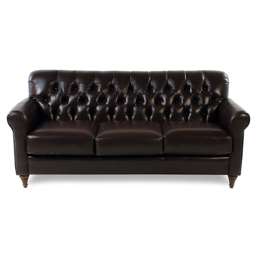 Decor-Rest Maxwell Traditional Leather Sofa with Tufted Back and Turned Feet