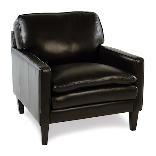Decor-Rest Lorenzo Contemporary Leather Chair with Tapered Legs