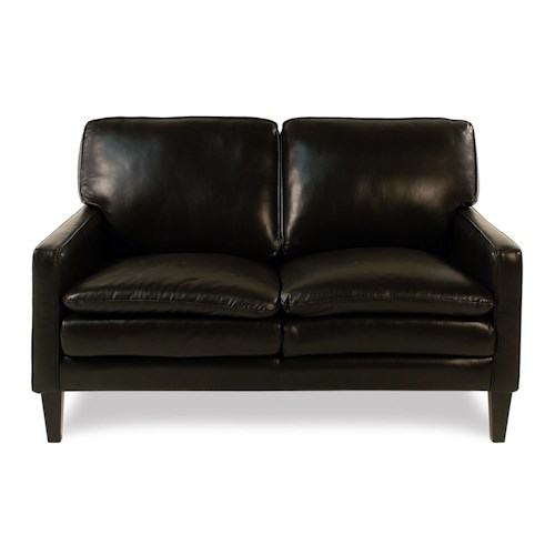 Decor-Rest Lorenzo Contemporary Leather Loveseat with Tapered Legs