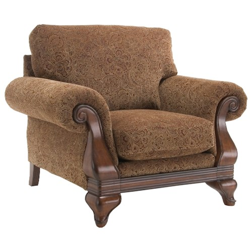 Decor-Rest 6641 Traditional Chair with Wood Detailing in Rolled Arms