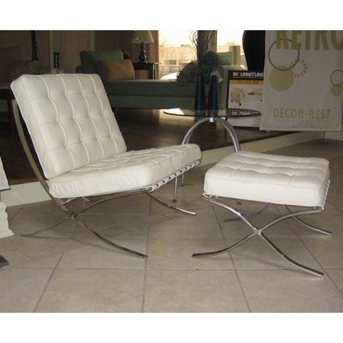 Decor-Rest Accent on Home Chairs Barcelona Stainless Steel and Leather Chair and Ottoman Set