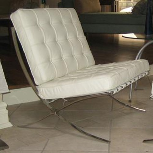 Decor-Rest Accent on Home Chairs Barcelona Stainless Steel and Leather Chair