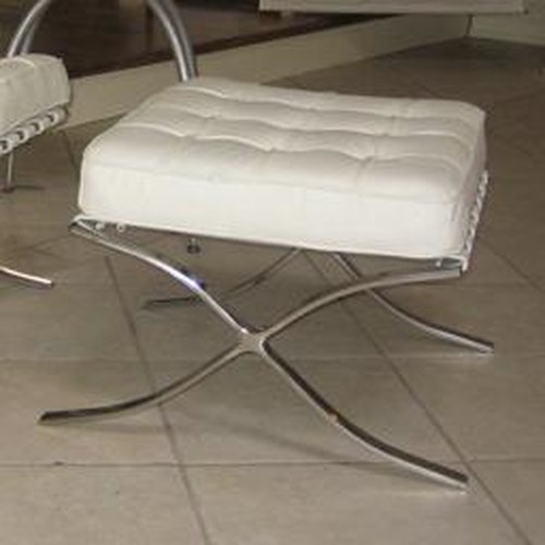 Decor-Rest Accent on Home Chairs Barcelona Stainless Steel and Leather Ottoman