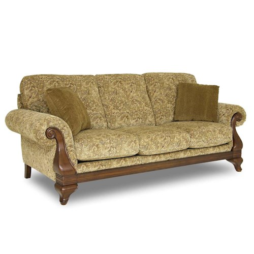 Decor Rest Upholstered Accents Exposed Wood Sofa Stoney
